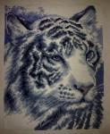 Вышивка крестом \»белый тигр\»